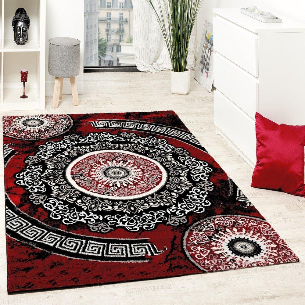 Paco Home Designer Teppich Mit Glitzergarn Klassisch Ornamente Gemustert Rot Schwarz Weiß, Grösse 200x280 cm