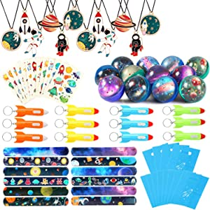 Lorfancy Outer Space Party Favors Supplies Space Toys, Slap Bracelets Tattoo Stickers Bouncy Ball Helicopter Keychains Space Pendant Gift Bag Accessories Birthday Party for Kids