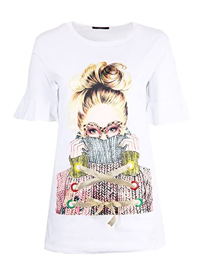 01fadbfcf04 Koko Women s Plus Size White Longline Graphic Appliqué T-Shirt (18 ...