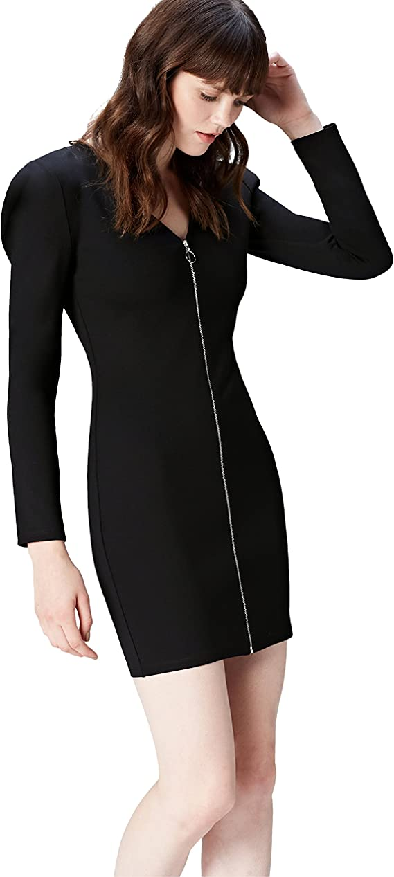 TALLA 40 (Talla del Fabricante: Medium). Marca Amazon - find. Vestido con Cremallera para Mujer Negro (Schwarz) 40 (Talla del fabricante: Medium)