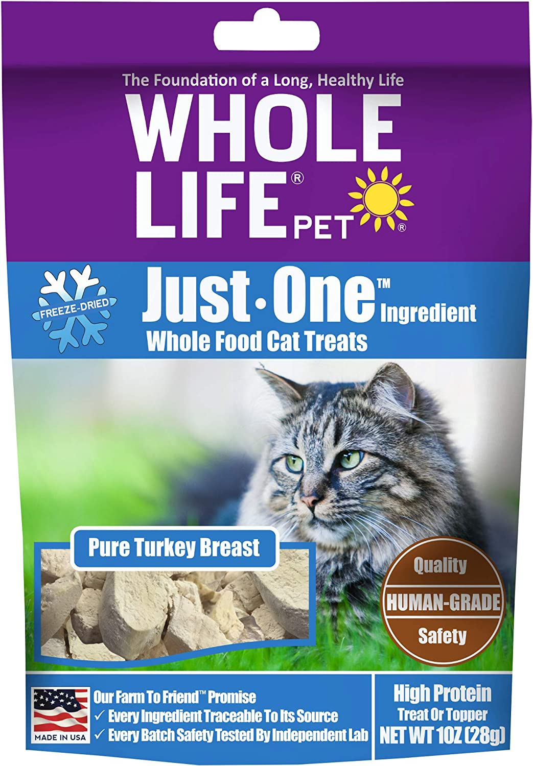 Whole Life Pet Products Healthy Turkey Cat Treats , Human-Grade Whole Turkey Breast, Protein Rich for Training, Picky Eaters, Digestion, Weight Control, Made in the USA, 1 Ounce, blue/purple, TK779