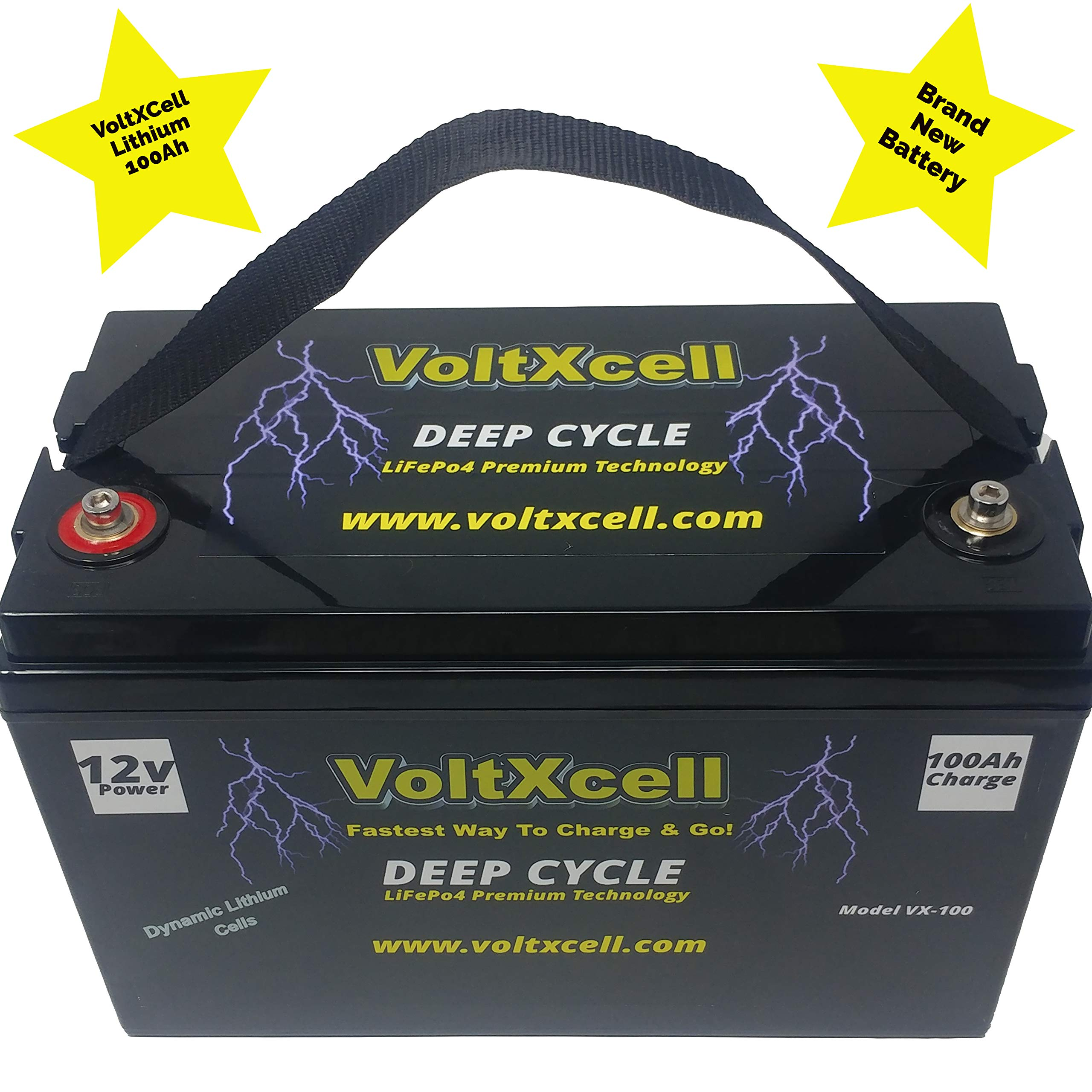VoltXcell Lithium 100ah Battery LifePo4 12v Solar Wind Marine Boat Deep Cycle 12 Volt BMS Included Off Grid for Storage Rv Camping Home Car Audio