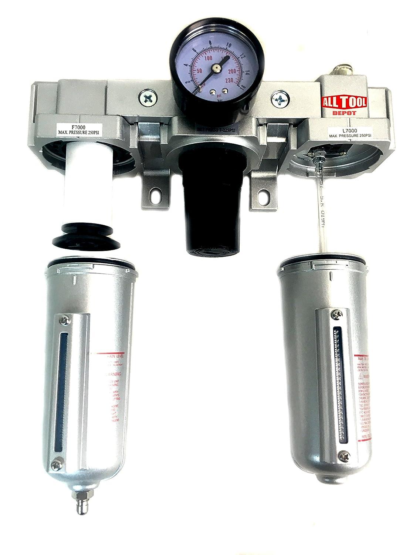 3//4 NPT Compressed Air Preparation Filter//Regulator//Lubricator FRL Manual Drain