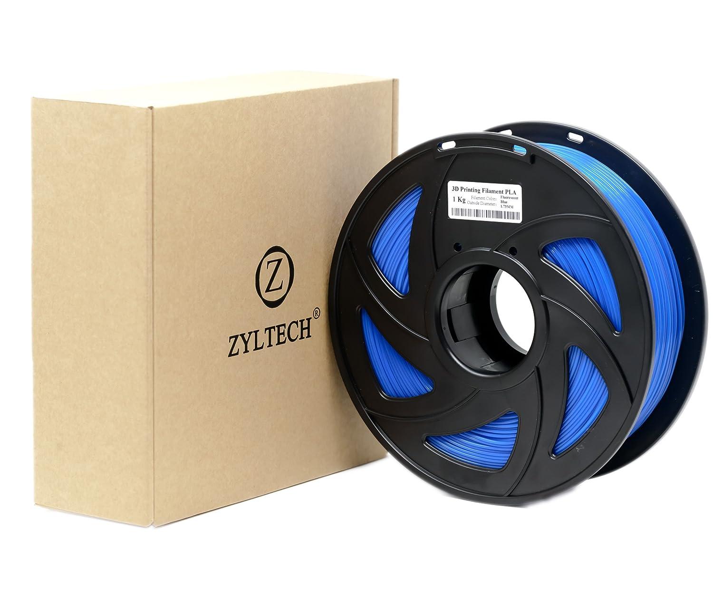 ZYLtech 3D Printer Filament PLA 1.75 mm 1 kg/2.2 lbs Fluorescent Blue Zyltech Engineering LLC PLA-FLBLUE