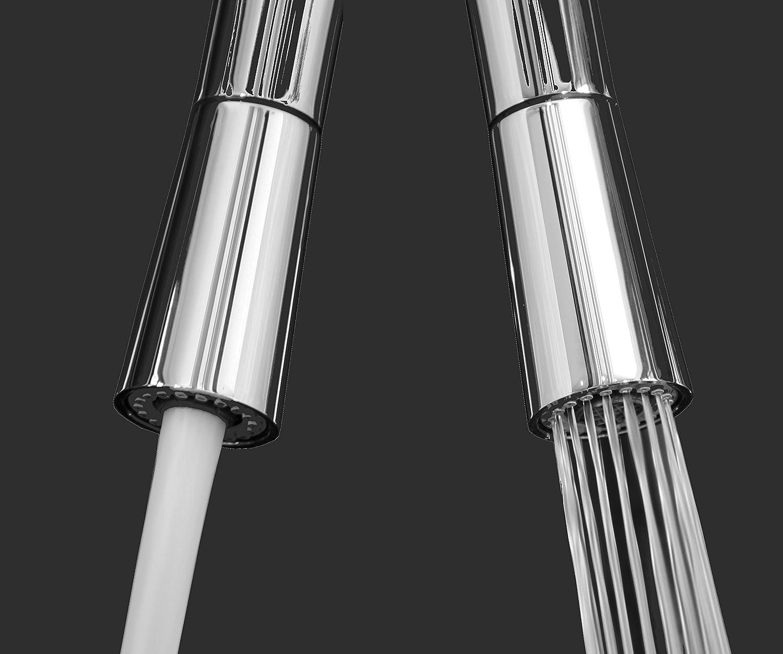 dbbb8074ce43b Mélangeur évier robinet cuisine rabattable 6cm bec NOIR orientable pivotant  et douchette 2 jets   robinet sous fenêtre    Chromé   Noir  Amazon.fr  ...