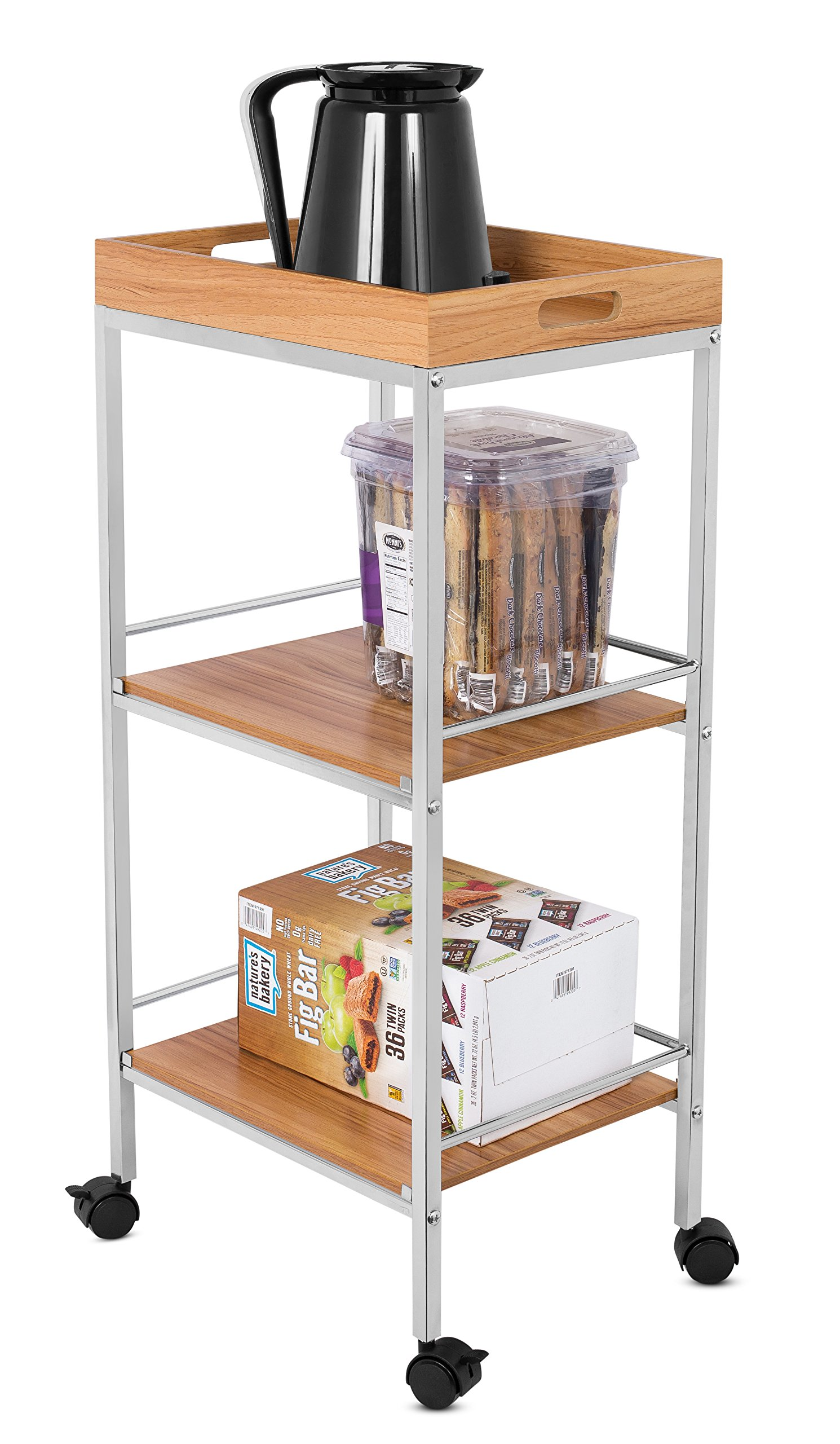 BirdRock Home 3-Tier Rolling Bar Serving Cart | Kitchen Bathroom Trolley Locking Wheels | Removable Trays | Portable Metal Utility Storage | Tea Coffee Drink Home Cart