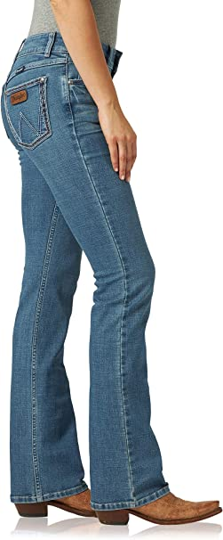 09MWGMS Wrangler Girls Dark Wash Boot Cut Jeans with W Stitch Back Pocket NEW