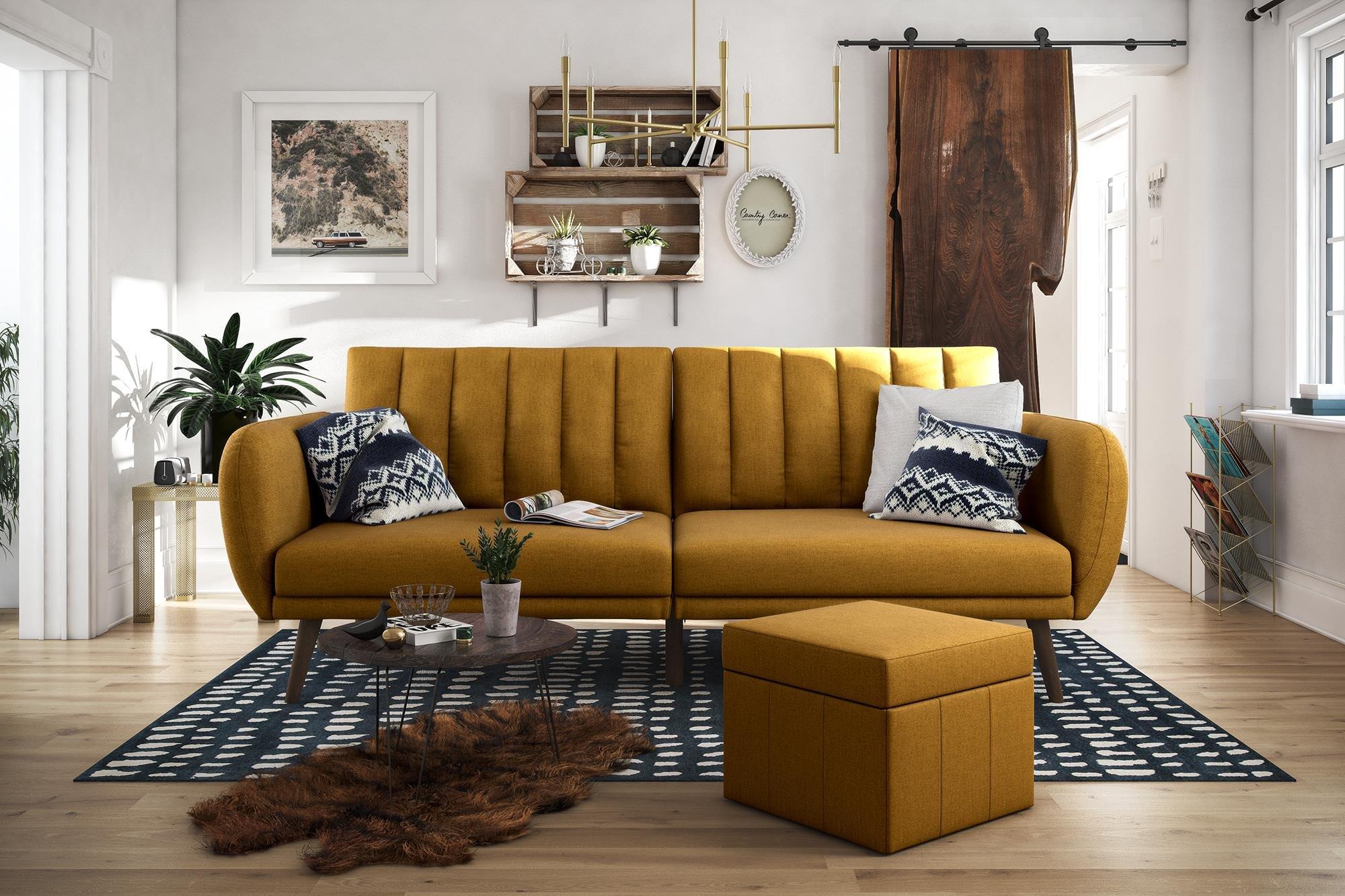 Novogratz Brittany Sofa Futon, Premium Linen Upholstery and Wooden Legs, Mustard Linen by Novogratz