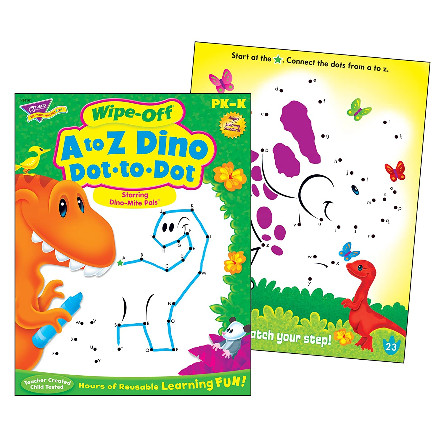 TREND enterprises Inc 28 pg T-94161 A to Z Dino Dot-to-Dot Dino-Mite Pals Wipe-Off Book