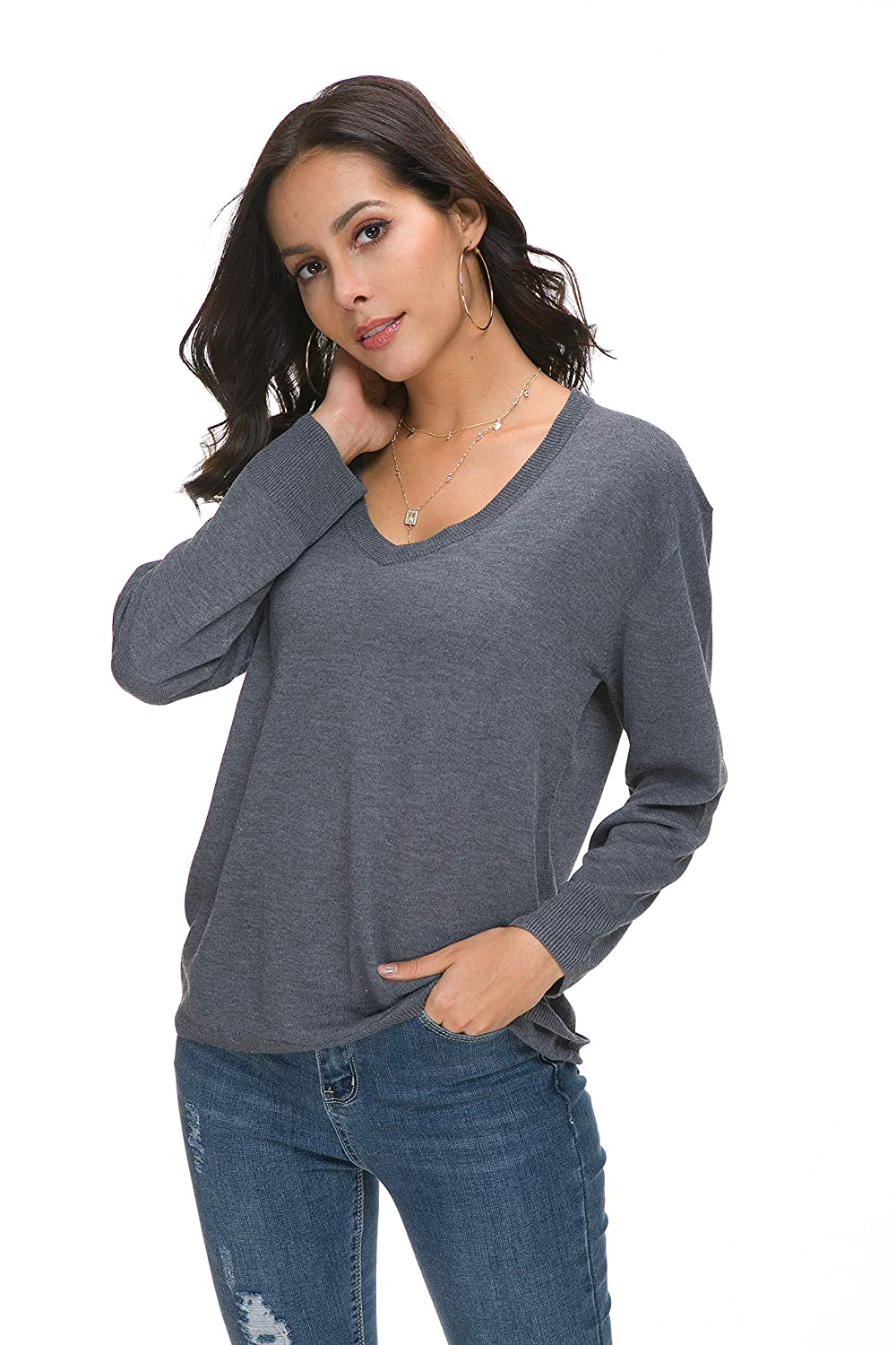 Sechico Women Loose V-Neck Pullover Sweater Long Sleeve Knitted  Sweatershirt at Amazon Women s Clothing store  3fa21086e