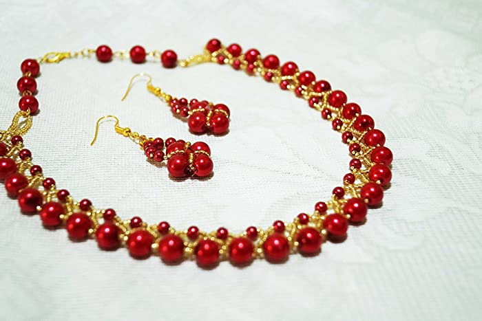 necklace beads earring for jewellery two jewelry at low buy prices women making green amazon diamonds line set red online store india dp in surat