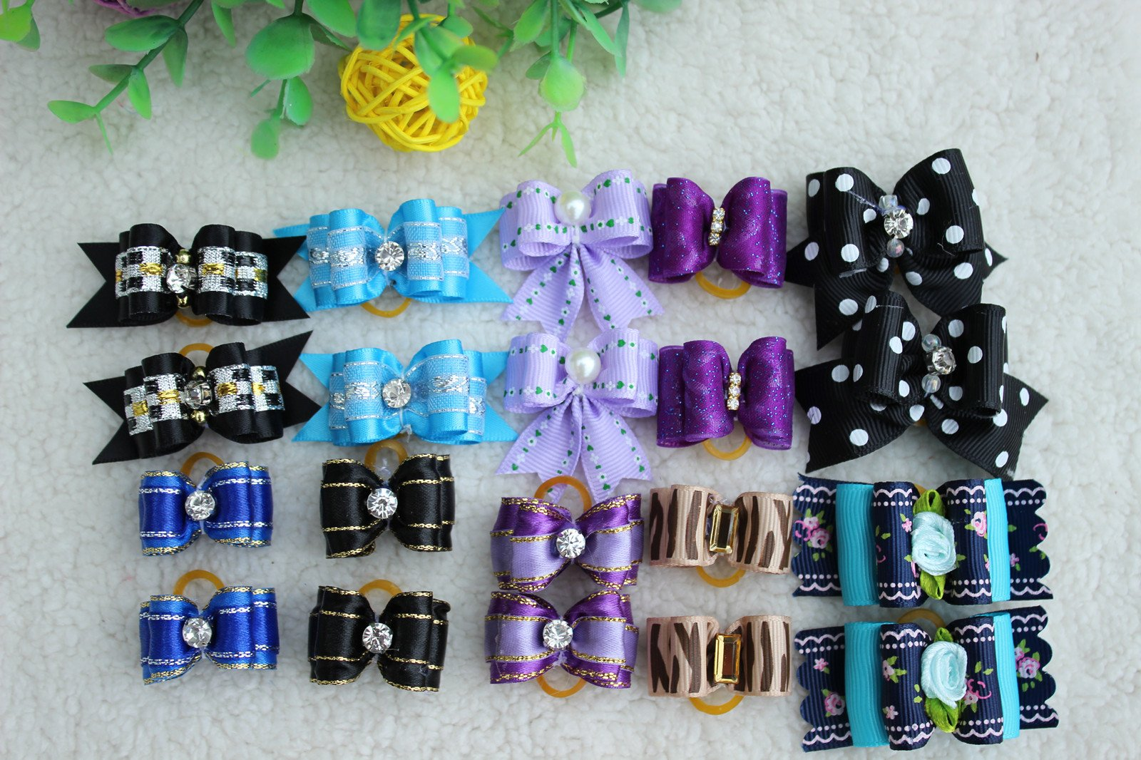 Yagopet 20pcs/pack Pet Hair Bows With Rubber Bands for Boys Dogs Black Purple Blue Colors Rhinestone Flower Pearls Center Dog Grooming Bows Dog Hair Accessories