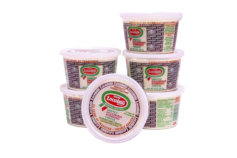 Locatelli Grated Pecorino Romano, 8 Oz Cups (Pack Of 6)