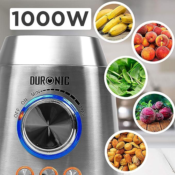 Duronic BL102 Batidora de Vaso de 1000W de Acero Inoxidable con 3 ...