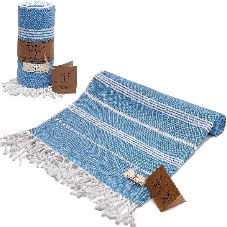 Smyrna Classical Series Original Turkish Beach Towel   100% Cotton, Prewashed, 37 x 71 Inches   Peshtemal and Turkish Bath Towel for SPA, Beach, Pool, Gym and Bathroom (Blue)