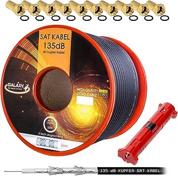 // 50m Abisolierer Blanco HB-DIGITAL Cable de antena coaxial satelital de cobre puro 135 Db Hb Digital Uhd 4 K con herramienta de extracci/ón y conector F 10X chapado en oro