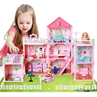 Cute Stone Dollhouse, Doll Dream House with Flashing Lights, Pretend Play Toddler Dollhouse Sets with 2 Dolls, Furniture…