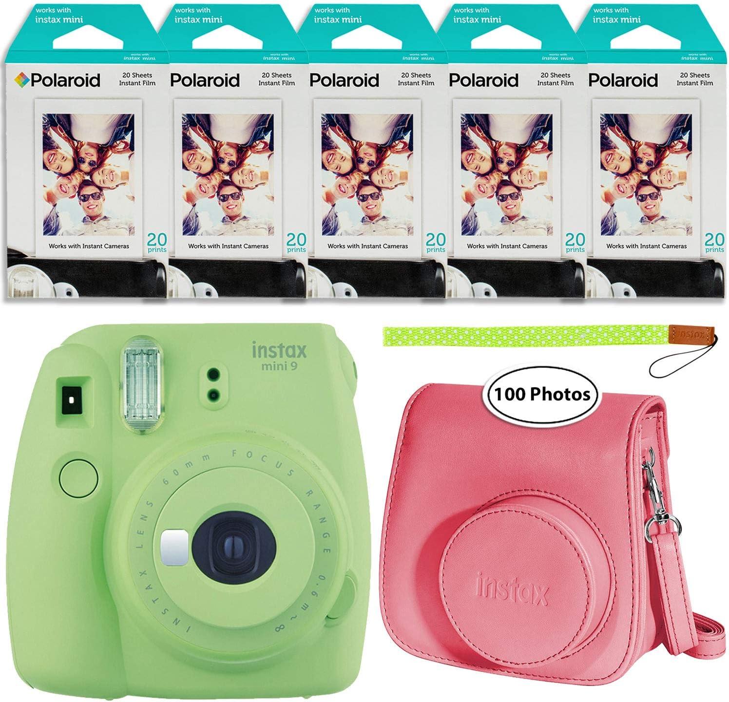 Fujifilm Instax Mini 9 - Cámara instantánea (verde lima, estuche Groovy y paquete de 5 películas instantáneas (100 hojas): Amazon.es: Electrónica