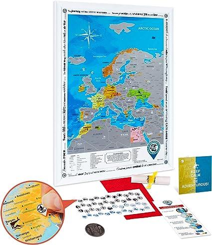 Mapa Rascar de Europa en el Marco Blanco - Mapa de Europa Rascar Grande Detallado 48 x