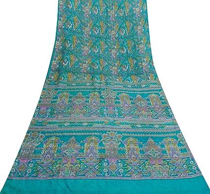 Vintage Pura seda floral impresa azul Sari vestido que hace la tela artesanal Deco Sari