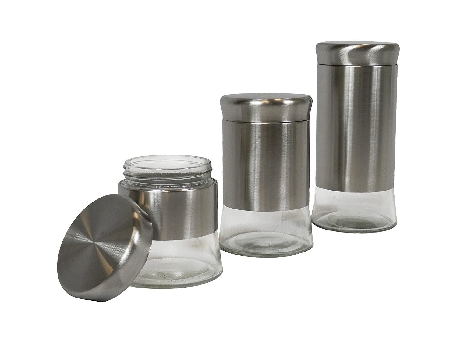amazon com chefventions 3 piece sturdy food storage canisters set amazon com chefventions 3 piece sturdy food storage canisters set with tight seal stylish clear glass and stainless steel kitchen containers for coffee