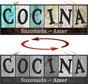 ATX CUSTOM SIGNS - Double Sided Kitchen Sign in Spanish for Home and Kitchen Decor - Cocina Sazonada con Amor. Colors and Light and Dark Grays