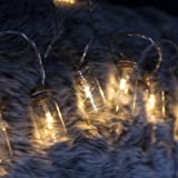 NEW - Retro / Vintage Glass Jar LED Fairy Lights with warm white LEDs. 16 Lights (static). Battery operated with on/off/timer modes (Clear Jar)