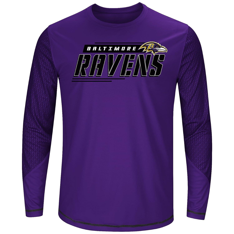NFL Baltimore Ravens Men L//S POLY TEE GEO-HEX 3X PURPLE//BLK