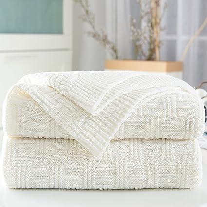 Amazon Longhui Bedding White Cotton Cable Knit Throw Blanket Classy White Cable Knit Throw Blanket
