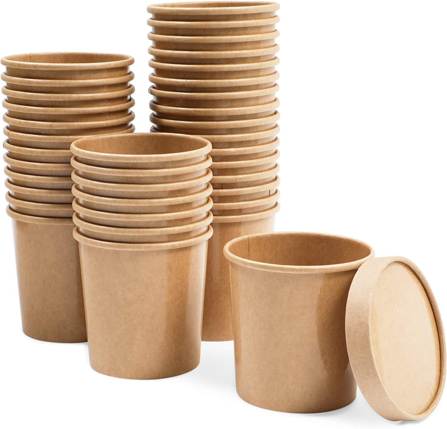 Brown Disposable Soup Containers with Lids for To-Go Food (16 oz, 36 Pack)
