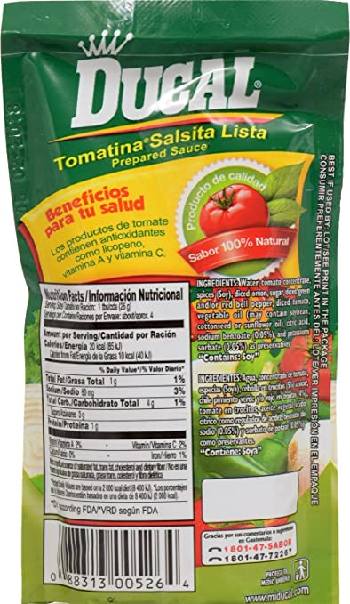 Amazon.com : Ducal 3229 Tomatina Ranchera Pouch, 3.74 Ounce (Pack of 24) : Grocery & Gourmet Food