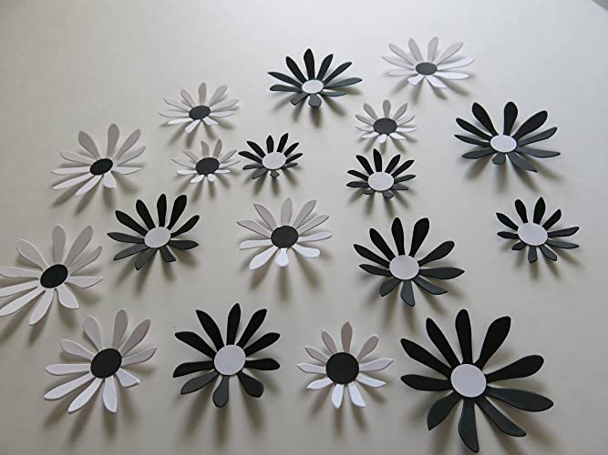 Amazon Black And White Daisies Set 18 Piece Big 3d Wall Decals