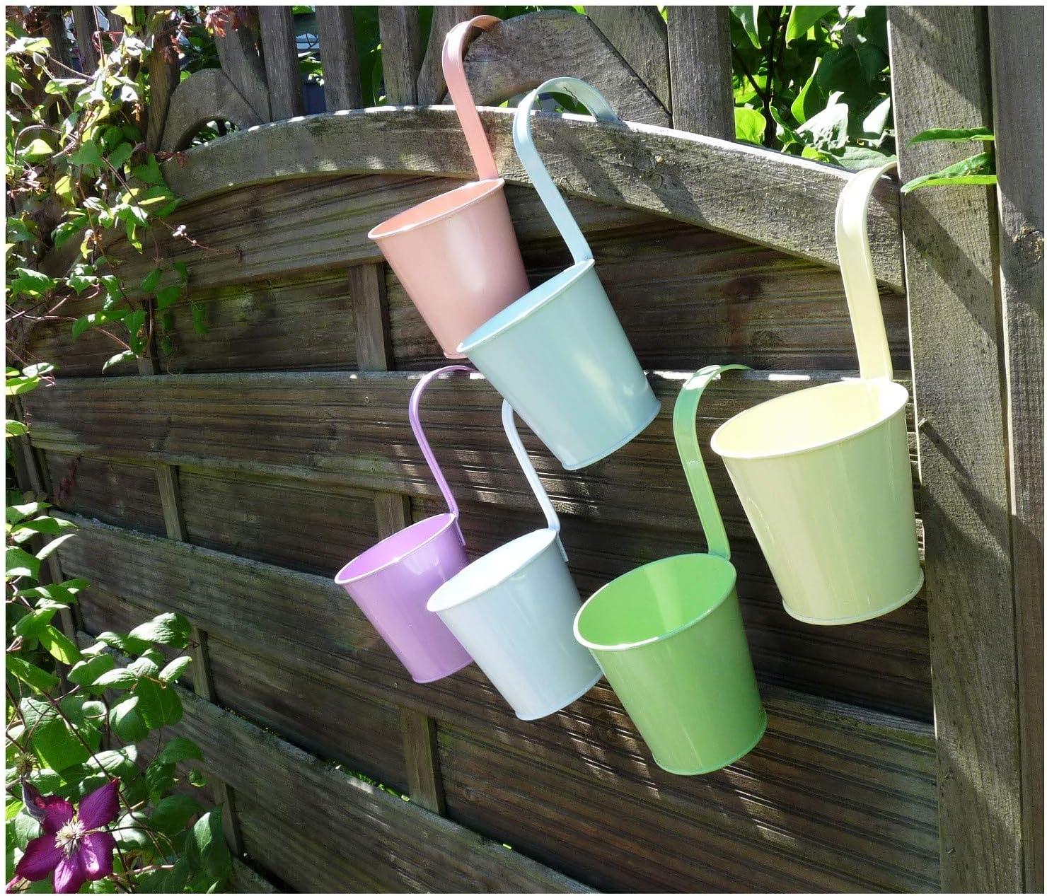 6 items Hanging Pots Flower Pot Diameter 11 cm Assorted Pastel Colours