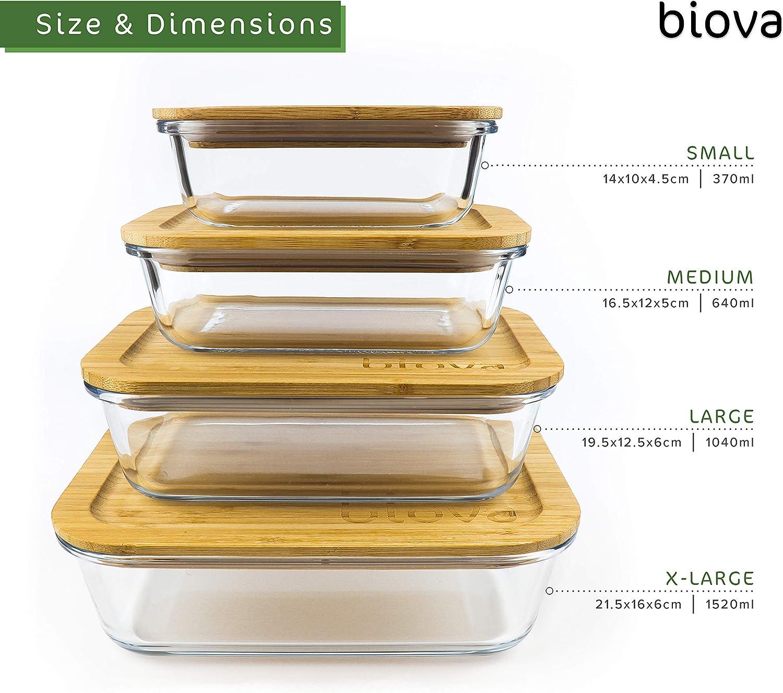 hornear cuencos de vidrio para mezclar bento para sobras Biova cocinar y comer Juego de 4 recipientes rectangulares de vidrio para almacenar alimentos con tapas de bamb/ú ecol/ógicas