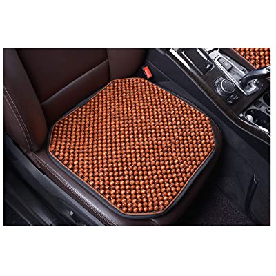 KENNISI Wood Beaded Seat Cushion Cooling Car Office Chair Seats Large Wooden Bead Covers Summer 1-PC (1-Coffee-FD): Home & Kitchen