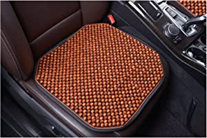 KENNISI Wood Beaded Seat Cushion Cooling Car Office Chair Seats Large Wooden Bead Covers Summer 1-PC (1-Coffee-FD)