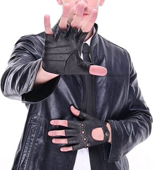 Mens Genuine Leather Gloves Sheepskin Fingerless Gloves Half Finger Leather Driving Motorcycle Cycling Riding Unlined Gloves