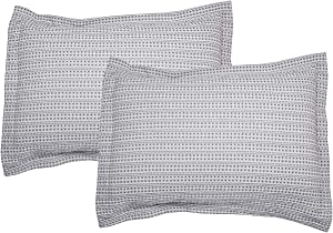 """PHF Cotton Waffle Weave Pillow Shams Covers,King Size (20"""" X 36""""), Set of 2, Yarn Dyed, Soft and Cozy Home Decorative Pillow Cases, No Filling, Grey"""