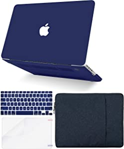 """KECC Laptop Case for MacBook Pro 13"""" (2020/2019/2018/2017/2016, Touch Bar) w/Keyboard Cover + Sleeve + Screen Protector (4 in 1 Bundle) Hard Shell A2159/A1989/A1706/A1708 (Matte Navy)"""