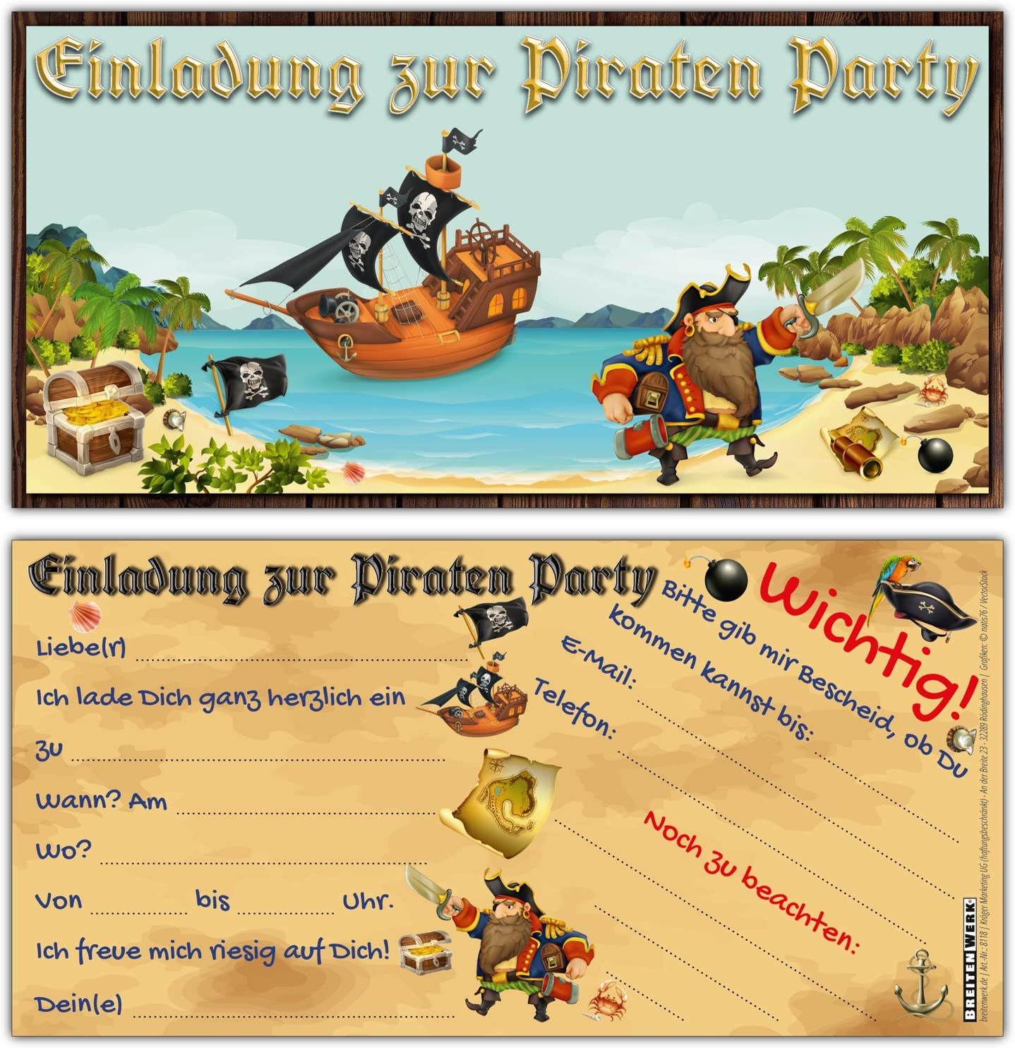 12 Piraten Einladungskarten im Set zum Ausf/üllen ideale Einladungen f/ür Jungen und M/ädchen Kinder-Geburtstag Party oder Schatzsuche von BREITENWERK/®