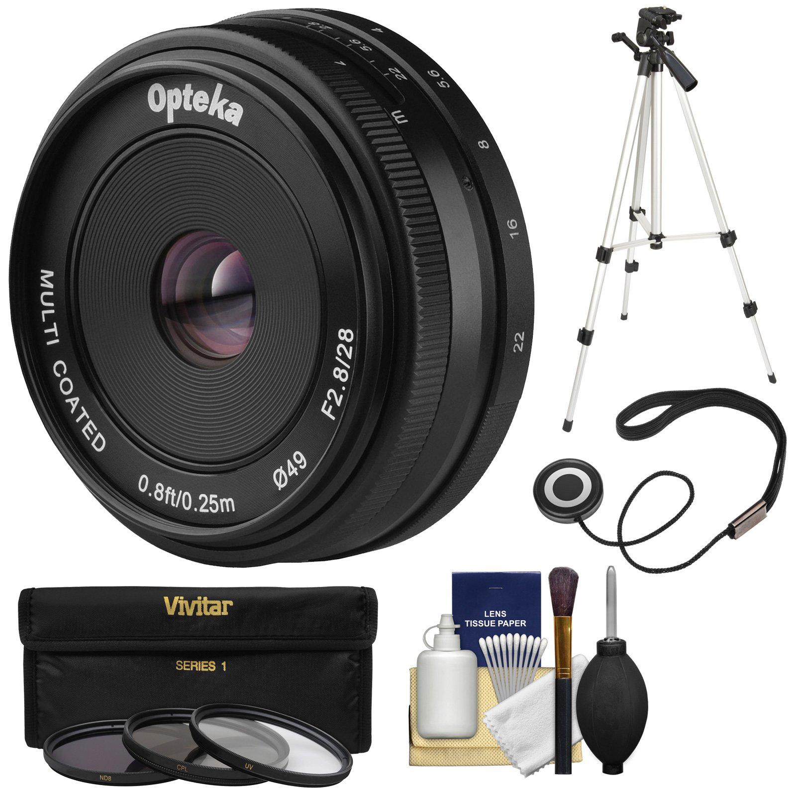 Opteka 28mm f/2.8 HD MF Prime Pancake Lens with 3 UV/CPL/ND8 Filters + Tripod Kit for Sony Alpha E-Mount Digital Cameras