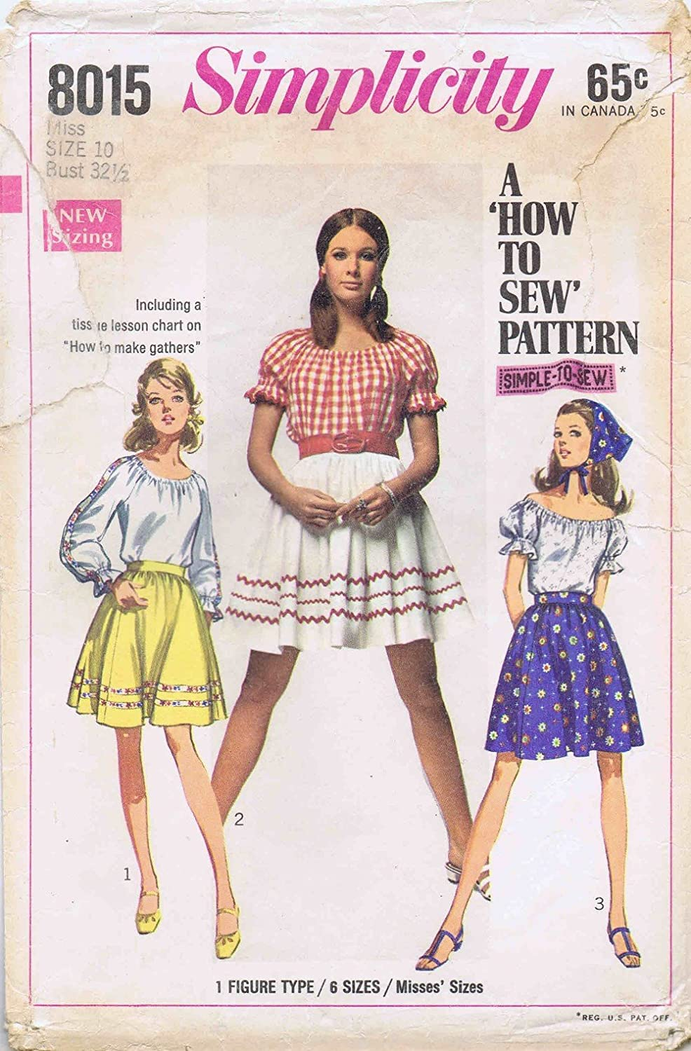 0c793e7c99c072 Amazon.com: 1960s Misses Peasant Blouse Skirt Scarf Simplicity 8015 Vintage  Sewing Pattern Size 10 Bust 32 1/2: Arts, Crafts & Sewing
