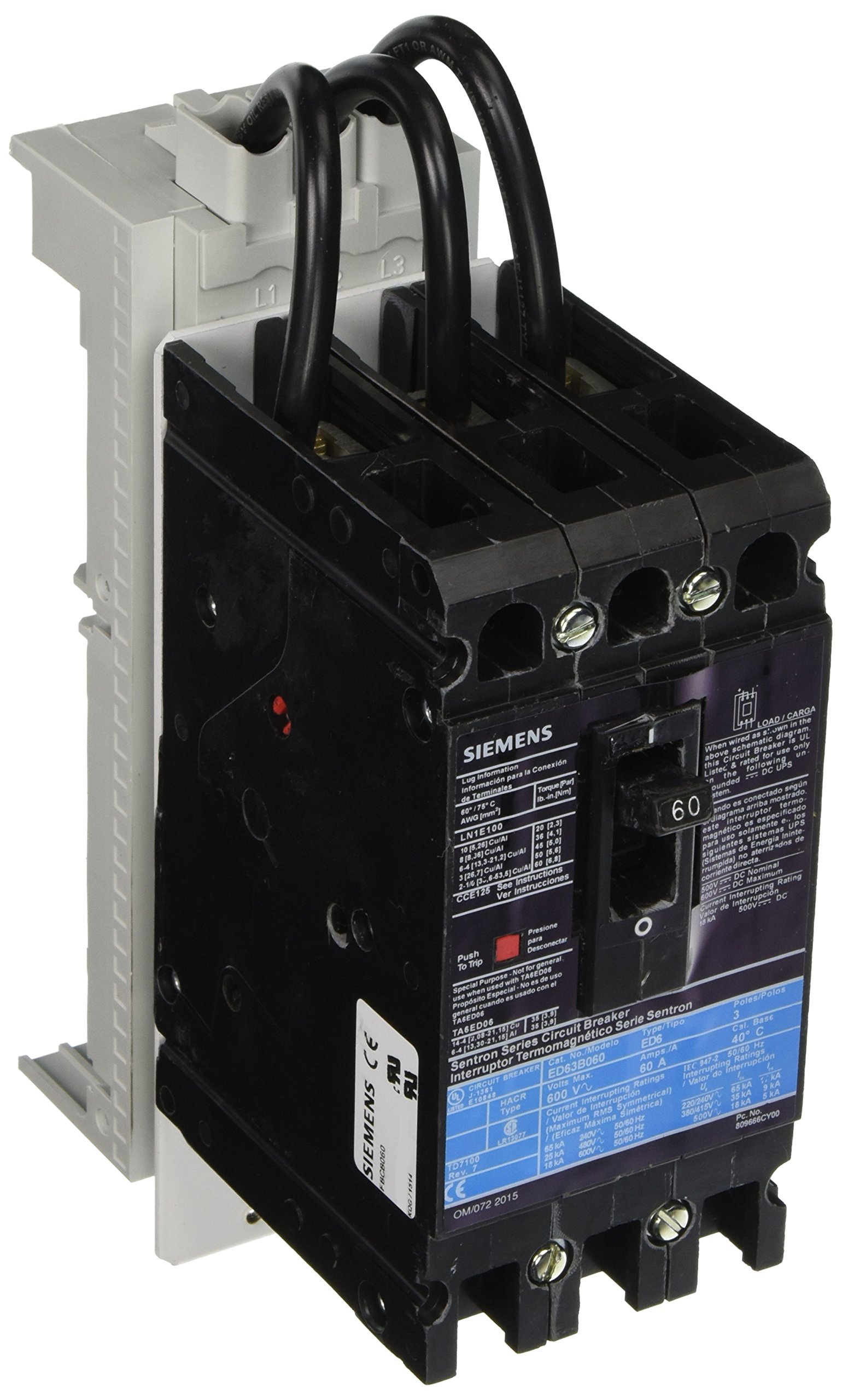 Siemens  FBCB060 Fast Bus Busbar Circuit Breaker, Feeder 3 Pole, Snap On Adapter Shoes, ED Breaker Frame, 60A UL Current Rating, 25kA UL Short Circuit Current Rating On 480V