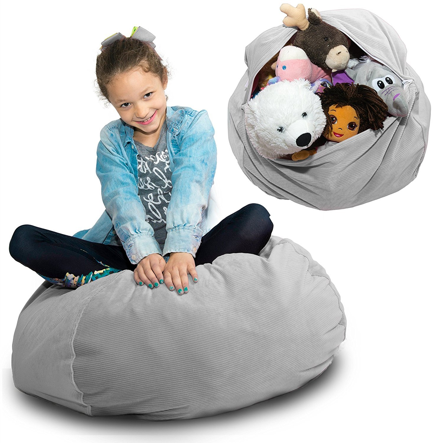 LARGE Stuffed Animal Storage Bean Bag   U201cSOFT U0027n SNUGGLYu201d Corduroy Fabric  Kids Prefer Over Canvas   Replace Mesh Toy Hammock Or Net   Better Than  Space ...