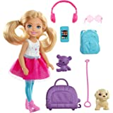 Barbie Chelsea Travel Doll, Blonde, with Puppy,...