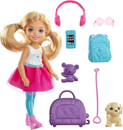 Amazon Com Barbie Chelsea Travel Doll Blonde With Puppy Carrier Accessories For 3 To 7 Year Olds Multicolor Toys Games