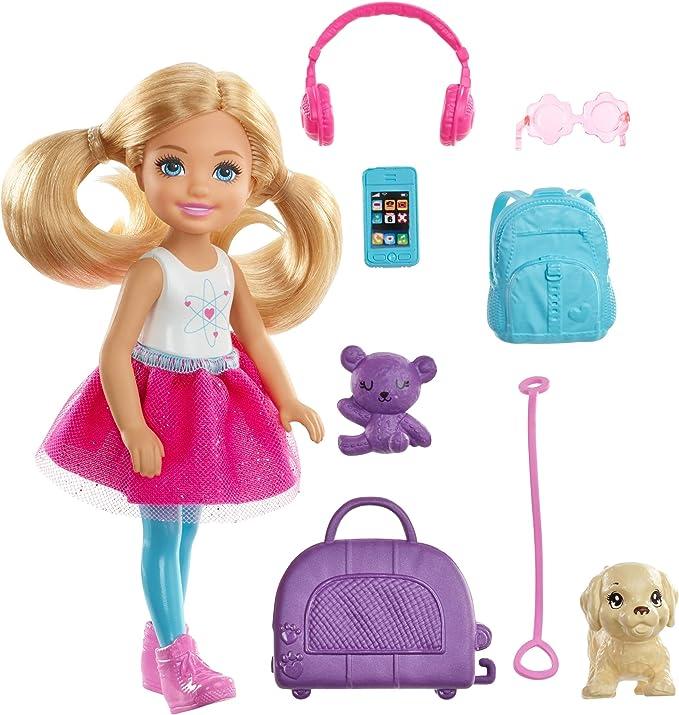 Barbie Travel Chelsea Doll, Multicolor