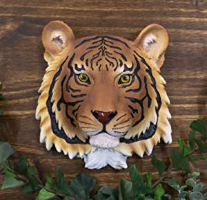 Ebros Jungle Forest Mini Orange Bengal Tiger Head Wall Decor Plaque 7.5