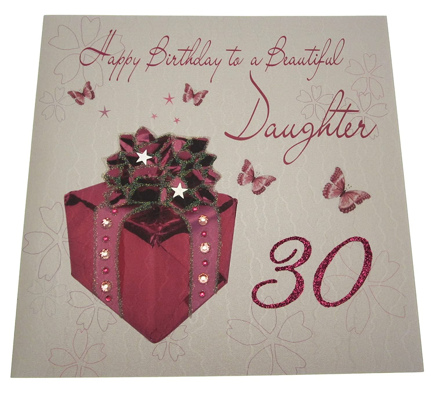 White cotton cards code xlwb103 happy birthday to a beautiful white cotton cards code xlwb103 happy birthday to a beautiful daughter 30 handmade large 30th birthday card present amazon kitchen home kristyandbryce Choice Image