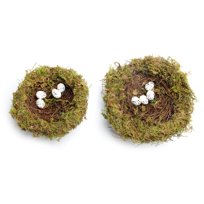 MomokoPeng Set of 2 Spring Bird Nests With Eggs,Twig Bird Nest Decorative Ornament With Clip(Green Bird's Nest) by MomokoPeng (Image #2)